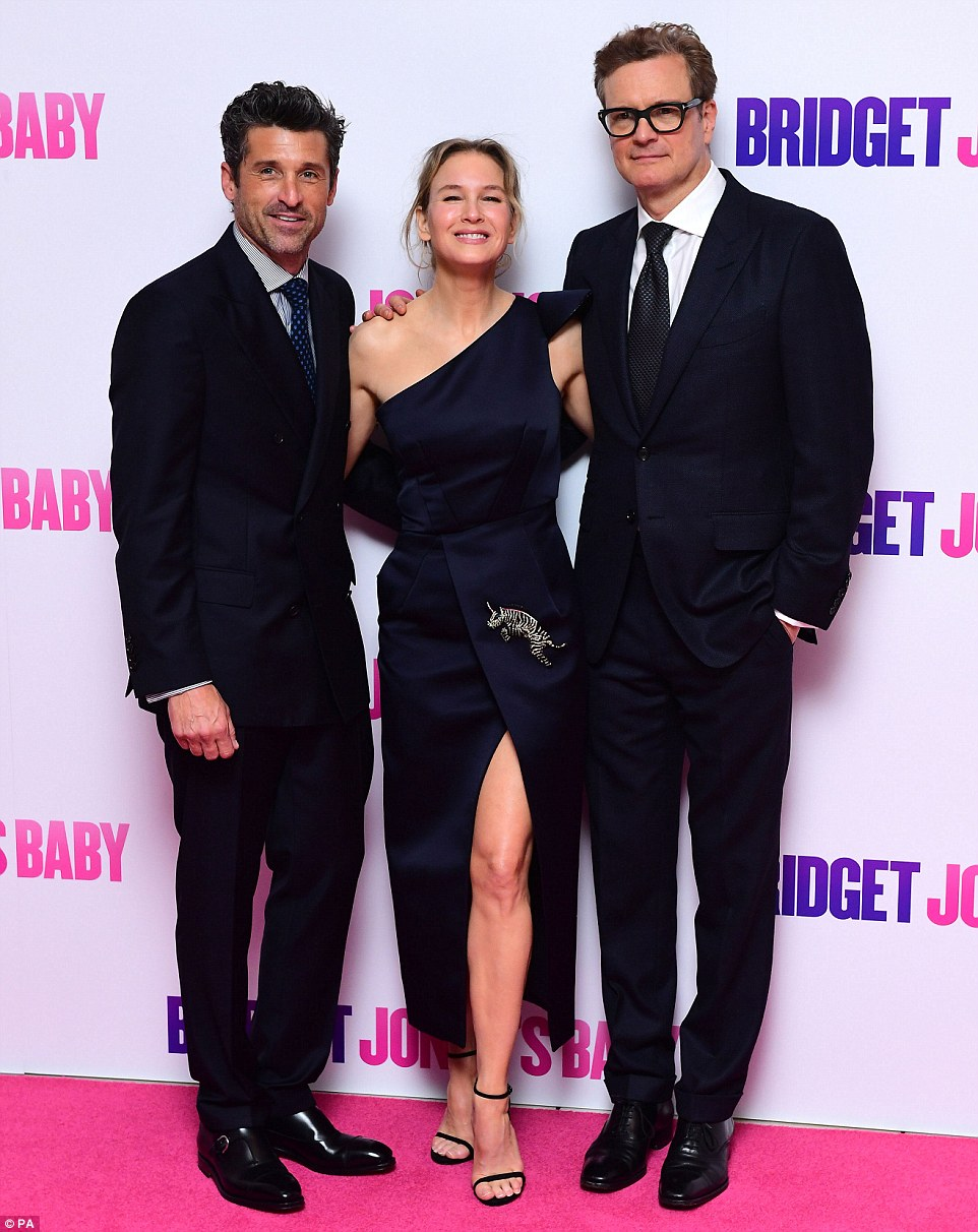 Her leading man: Renee was joined by co-stars an onscreen love rivals Patrick Dempsey and Colin Firth