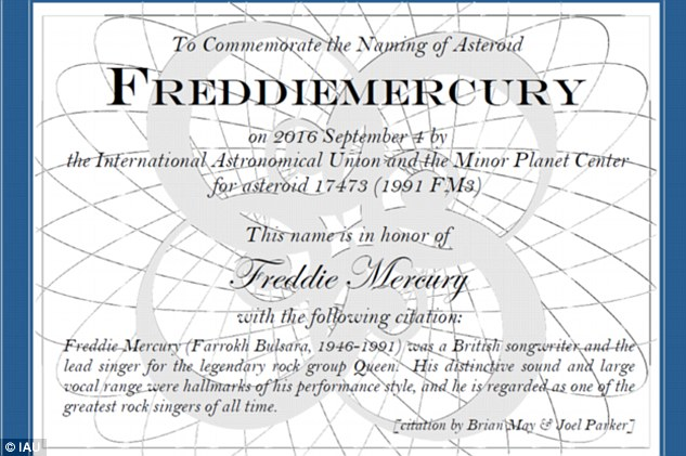 While issuing the certificate of designation (pictured), Joel Parker of the Southwest Research Institute said the asteroid was a celebration for a 'charismatic singer'.The asteroid was discovered in 1991, the year Mercury died