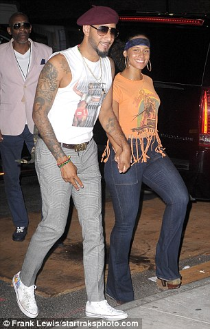 Party time: Alicia and Swizz were in high spirits as  they made their way into the New York venue on Monday evening