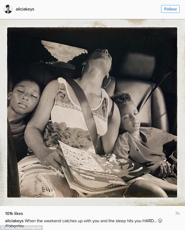 Keys - born Cook - captioned a snap of Kasseem Jr., 9, and Egypt: 'When the weekend catches up with you and the sleep hits you HARD... #laborday'