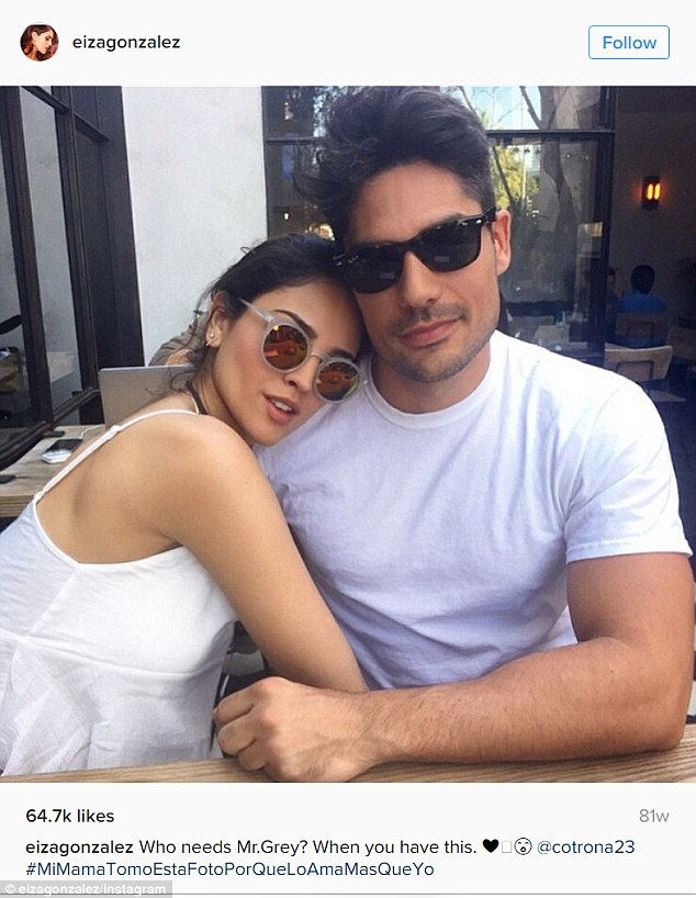 Looking smitten: Eiza was most recently linked to From Dusk Till Dawn co-star D.J. Cotrona, though they were last spotted together in November of 2015, and last shared lovey photos together on social media in February of that year