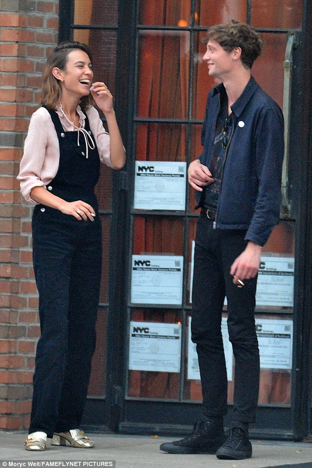Old flames: Alexa Chung looked to be having a fun-filled afternoon in New York with ex Matthew Hitt, who most recently split with Dakota Johnson.