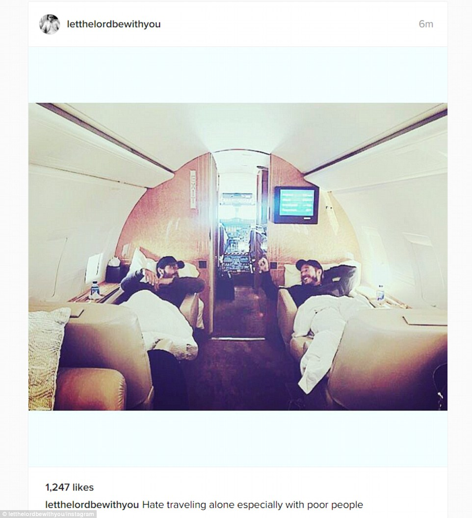 Tough life: Meanwhile, her ex Scott Disick shared an Instagram snap about the difficulties of traveling alone