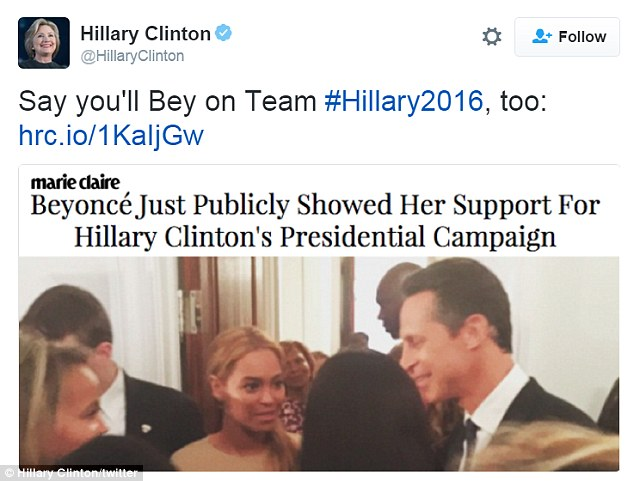 'Say you'll Bey on Team #Hillary2016!'Beyoncé has yet to endorse a candidate, even after attending the 68-year-old former First Lady's fundraiser in May of last year