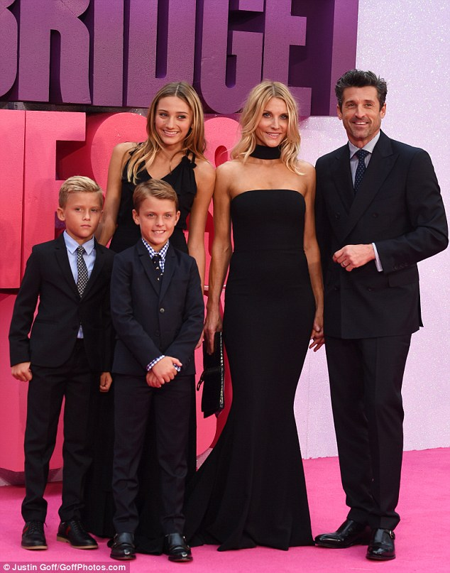 Family affair: Patrick Dempsey was all smiles as he posed alongside his stunning wife Jillian and his three children at theBridget Jones's Baby premiere on Tuesday in Leicester Square