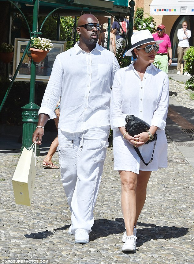 All white there!Kris Jenner opted to go for a fun wardrobe choice while she was in Portofino, Italy with her boyfriend Corey Gamble where they chose to wear his and hers ensembles on Monday