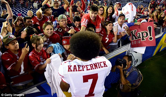 Kaepernick explained his protest last week, saying:'I want to help make America better, and I think having these conversations helps everybody have a better understanding of where everybody is coming from'
