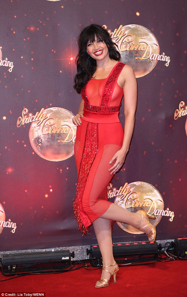 Two left feet:The brunette beauty seemed delighted to be paired with Aljaz, but admitted he'd have to watch out as she was rather 'clumsy'
