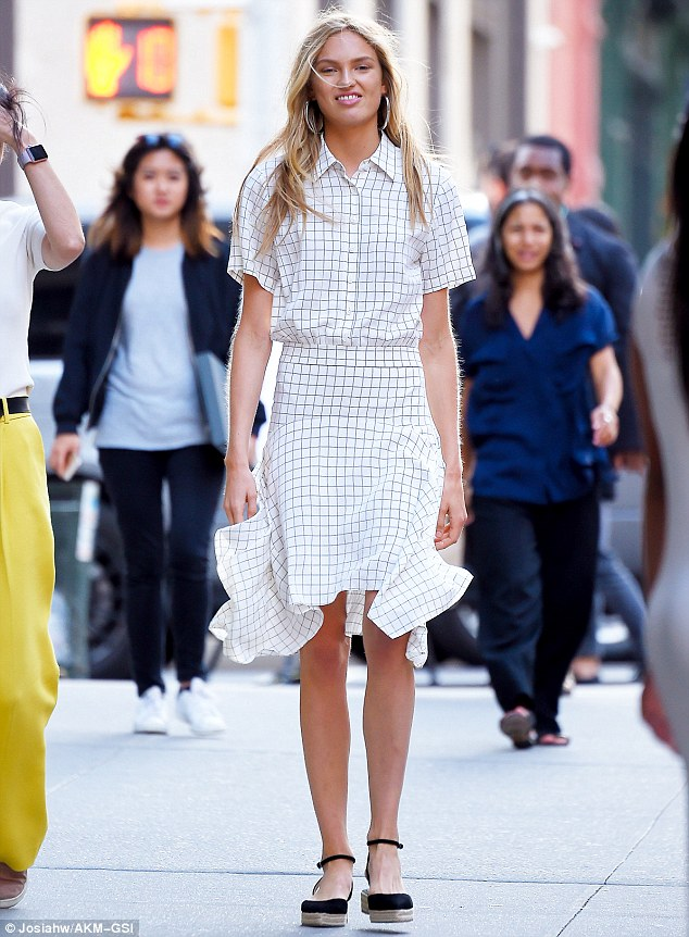 Outfit of the moment: Romee modeled what looked to be a matching blouse and skirt set