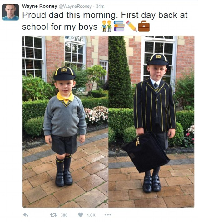Back to school: Manchester United captain Wayne Rooney, 30, posted an adorable snap of sons Kai, six, and Klay, three, before they left the house to return to their studies on Tuesday