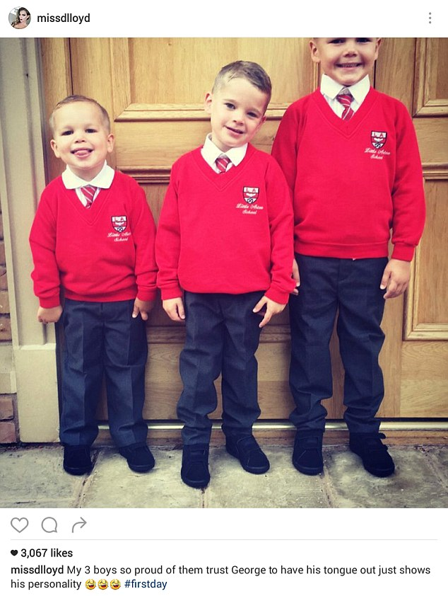 First day: Model Danielle Lloyd posted a snap of her three sons with ex-husband footballer Jamie O'Hara - Archie, five, Harry, four, and George, three - in their red jumpers and ties