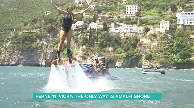Going for it: Vicky said 'I'm the king of the world' when she flew into the air