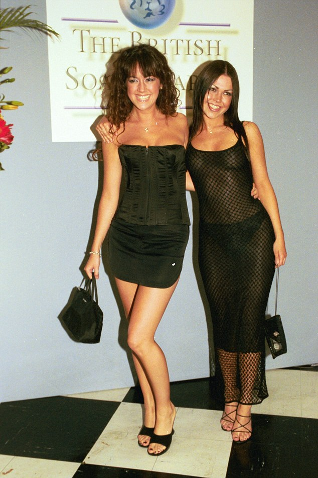 Then and now: It was a quite a contrast to a similar event in 1999, when she went braless beneath a mesh dress with co-star Sheree Murphy (left)