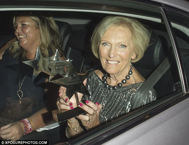 Pleased:Unable to contain her delight, the veteran presenter, 81, gripped the coveted award in both hands as she climbed into the rear of a waiting car shortly after the annual presentation