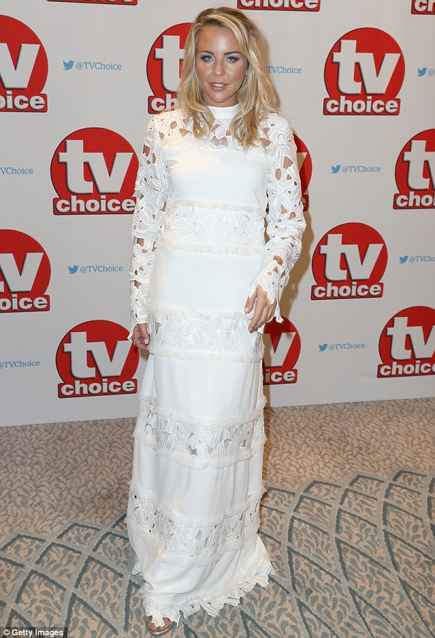Heavenly:Lydia looked positively angelic in the ensemble, which featured alternating plain and lace panels