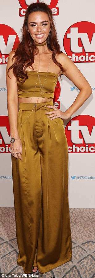 Lean in green: Though those four weren't the only stars making a head-turning appearance on the red carpet, as Jennifer Metcalfe ensured all eyes were on her with a flesh-flashing two piece ensemble