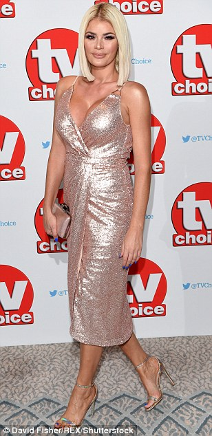 Stealing the show with some sparkle: Though it was Chloe Lewis who claimed the title of raciest red carpet appearance, as she put on an eye-popping display in a glittering, plunging pink dress
