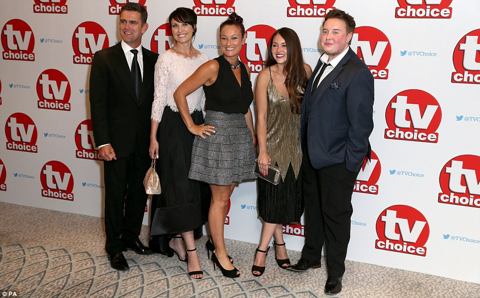 Smiles all round: The group all wore huge smiles, obviously hopeful of picking up at least one of the three awards the show was nominated for