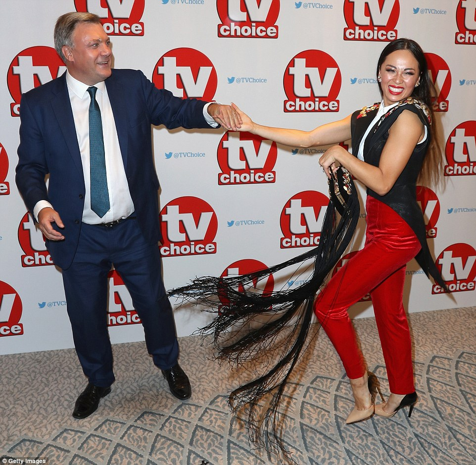 Give us a twirl! The duo showed off their moves for the competition on the red carpet
