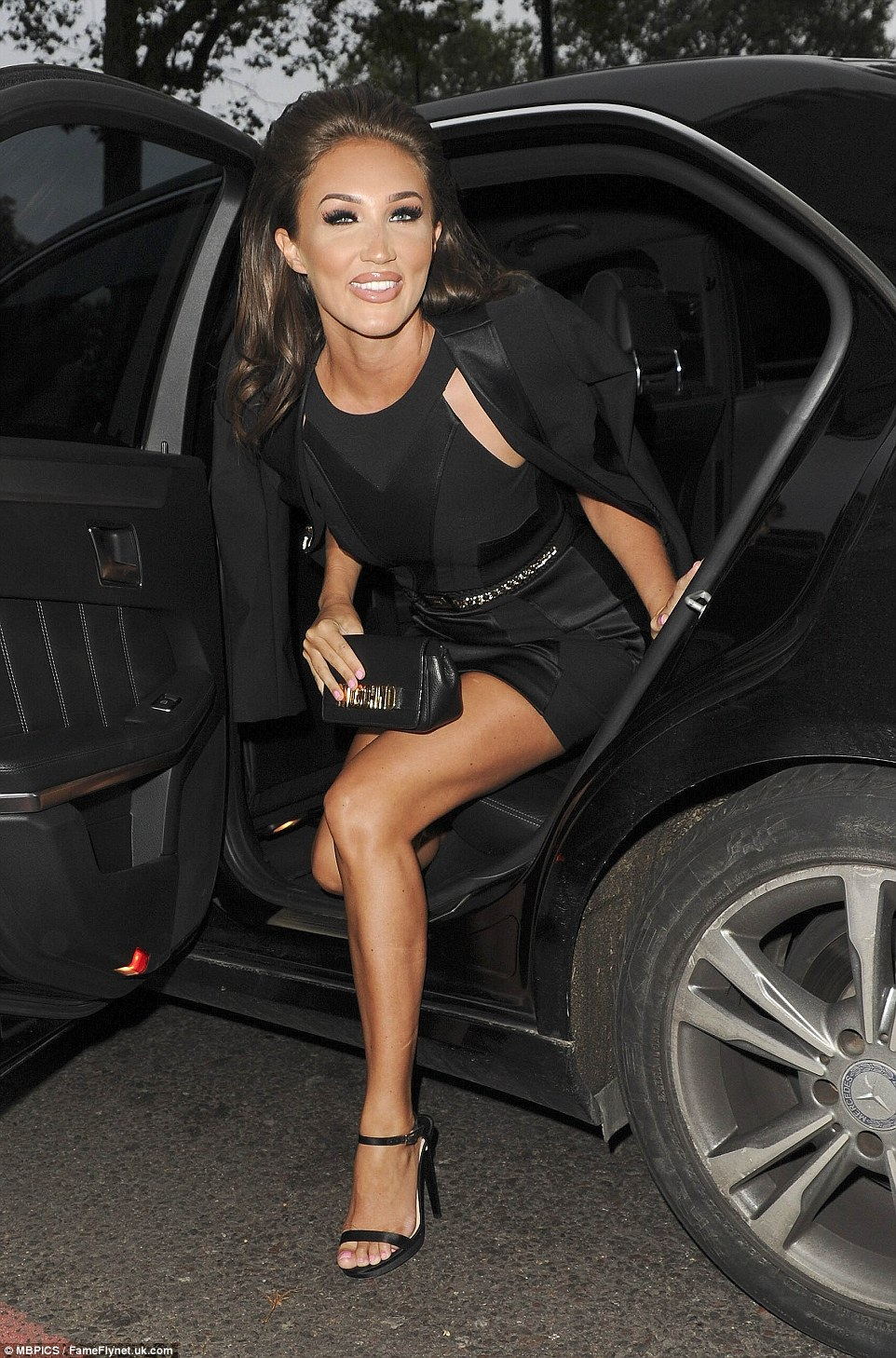 A leggy arrival: Megan McKenna had shown off her lean legs on arrival at the venue