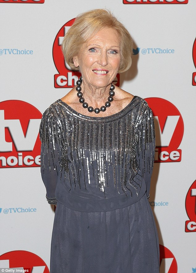 Elegant: 81-year-old Mary Berry glowed in a silver shift dress, decorated with stripes of glistening sequins at the top