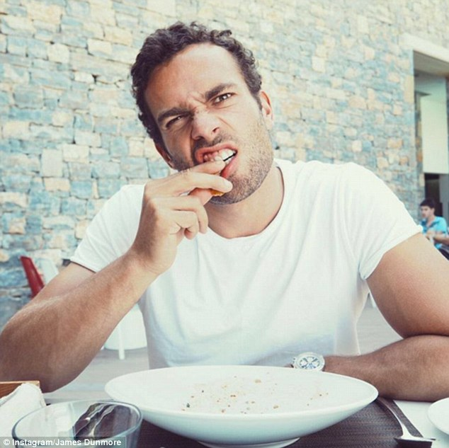 Feeling peckish? The reality TV star was chewing on his finger in one funny shot, despite having just polished off a plate of delicious Greek food