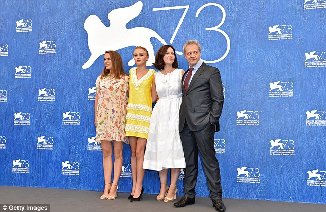 In good company: She lined up with (from left) Natalie Portman, director Rebecca Zlotowski and actor Emmanuel Salinger on the day