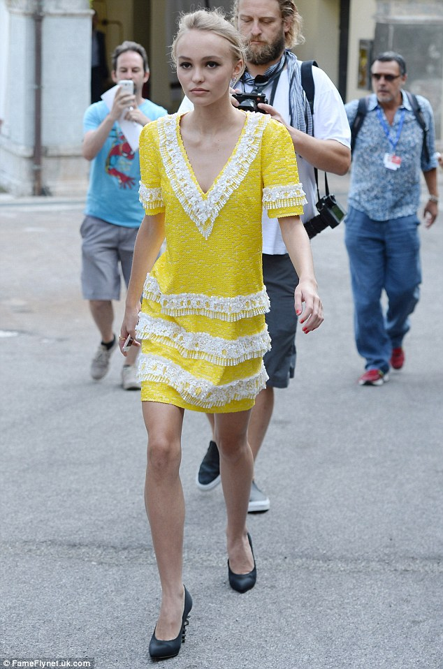 Vision in yellow: Lily-Rose went for a Spanish-style vibe