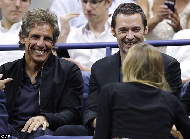 Mother-of-one Jelena, 30, chatted with Ben Stiller and Hugh Jackman as she prepared to watch her husband at the US Open