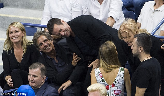 Deborah-Lee Furness, Hugh Jackman's wife, (second from right) chats to Jelena while Stiller and Jackman continue their joke