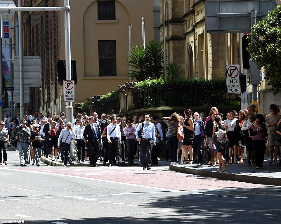 Thousands of workers were evacuated from the buildings in Martin Place and were directed to another area
