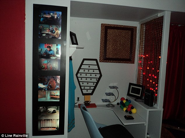 Happy snaps: The pictures on the wall of Spock's shipmates and the tricorder, 3D chess set, and set of Vulcan bells complete the bedroom