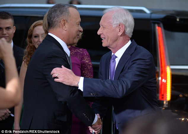 Actor Tom Hanks met heroic captain Chelsey 'Sully' Sullenberger ahead of the film detailing the pilot's dramatic landing in the Hudson River in January 2009