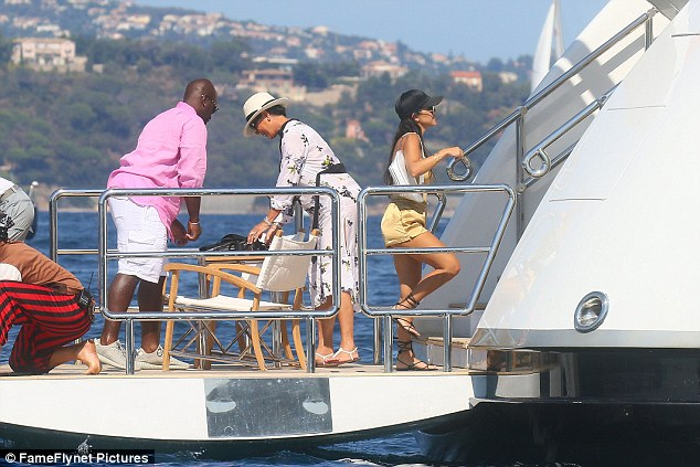 All hands on deck: Kourtney seemed in a rush to head back to her quarters