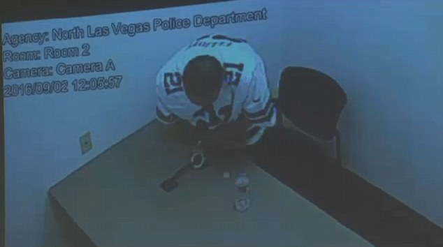 Perez can be seen in the video feed twisting and muscling the hinge of the handcuffs attaching his right wrist to a metal bar on a table bolted to the floor before the hinges snap