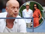 Bruce Willis reacts to the tennis alongside his wife Emma Heming, watching Gael Monfils play Novak Djokovic in the Men's Singles Semi-Final of the US Open 2016 at the Billie Jean King National Tennis Centre, Queens, New York on the 9th September 2016