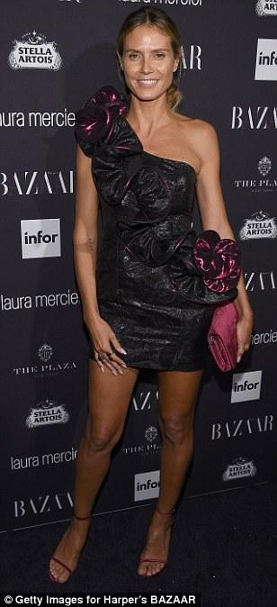 Vixen: Heidi Klum wowed in a short dress adorned with a 3D frill
