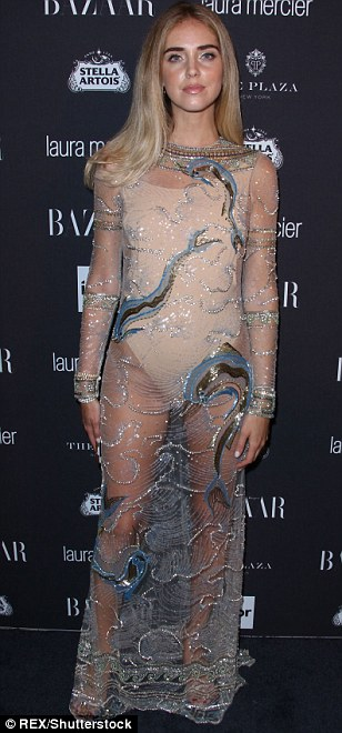 Dare to bare: Models Lindsay Ellingson, Natasha Poly and Italian designer and blogger Chiara Ferragni (L-R) all upped the sex appeal in semi-sheer numbers