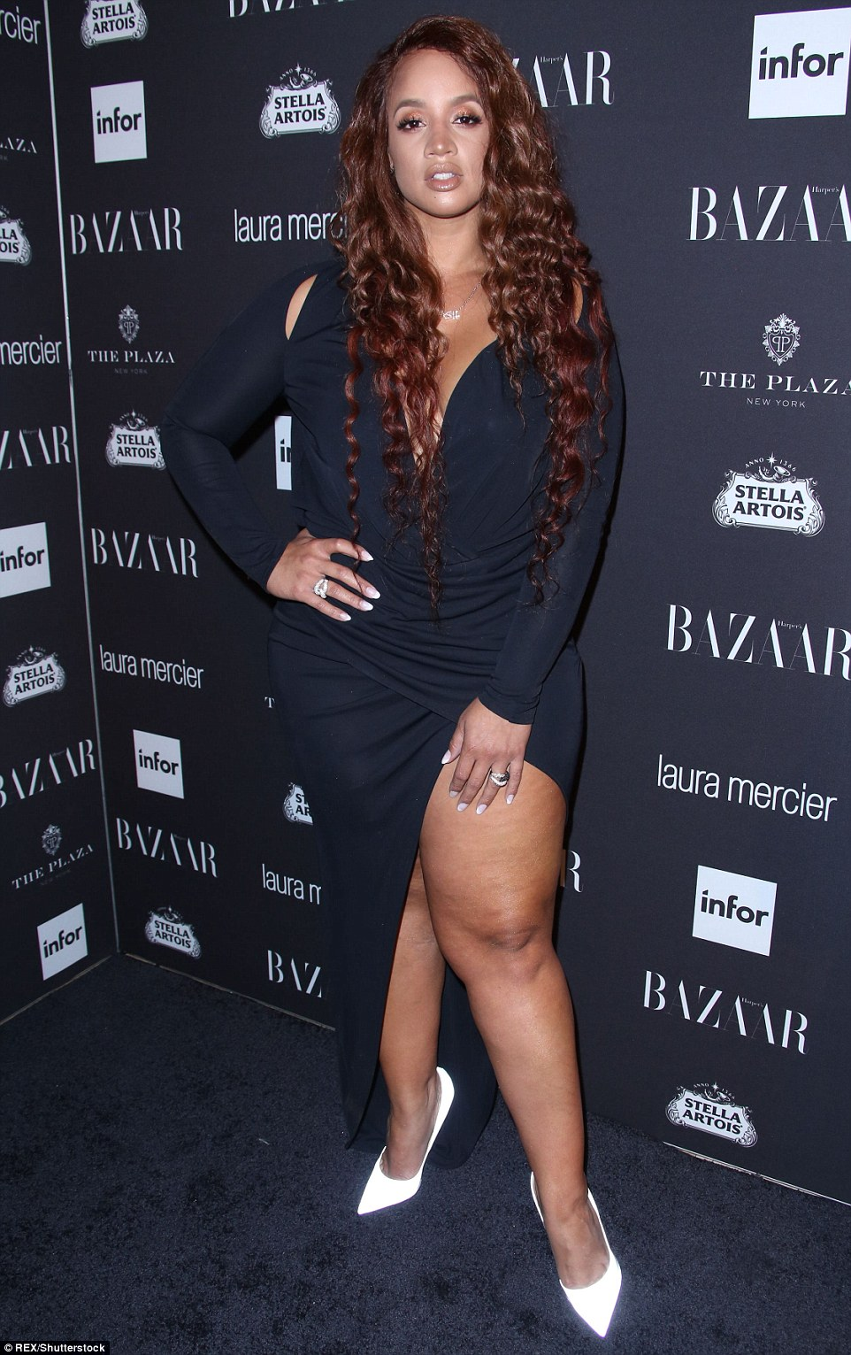 Navy is the new black? ActressDascha Polanco sizzled in a navy figure-hugging number with an eye-watering split