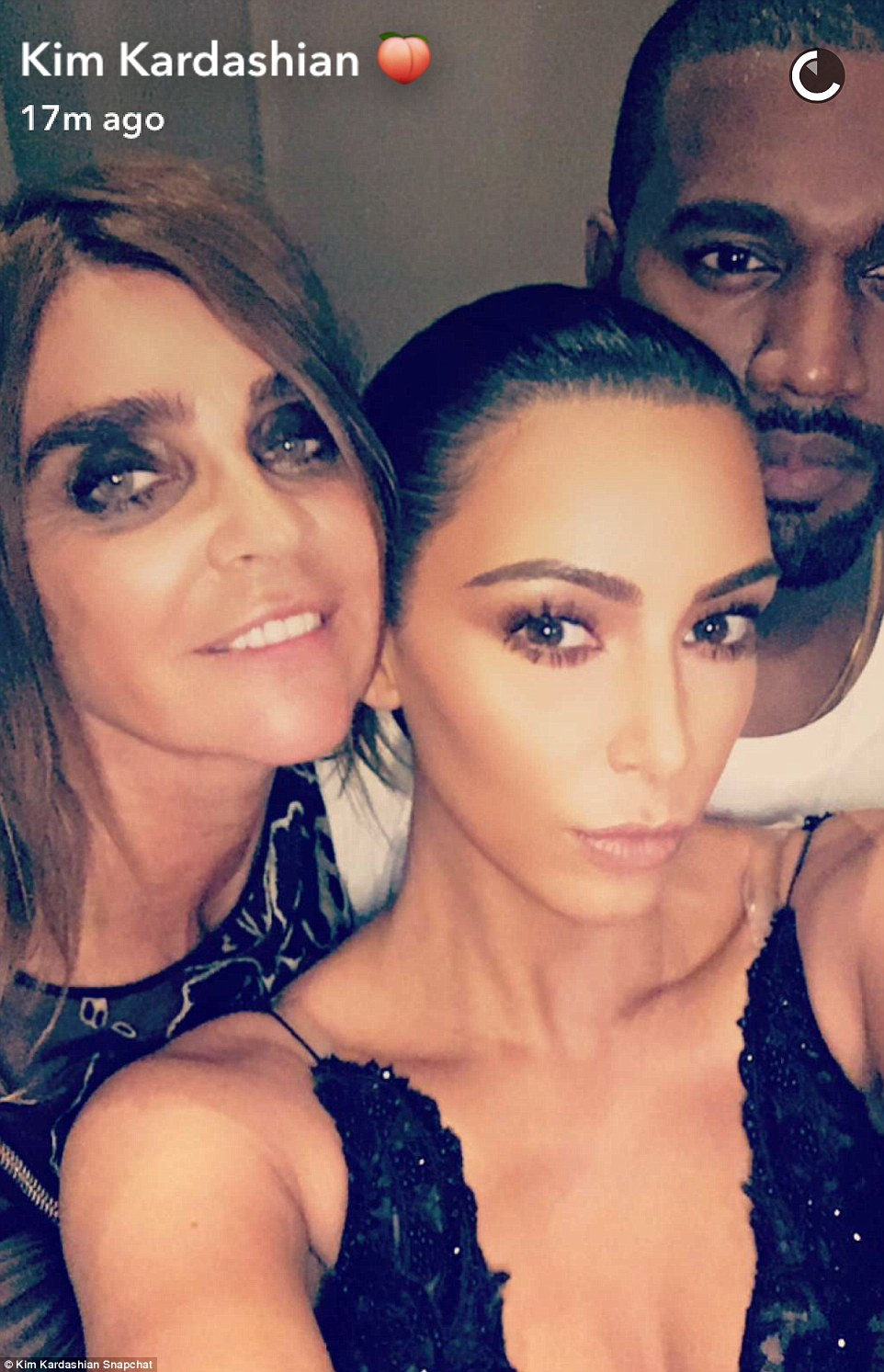 Strike a pose: The reality star, her husband, and Corine squeezed in for a selfie