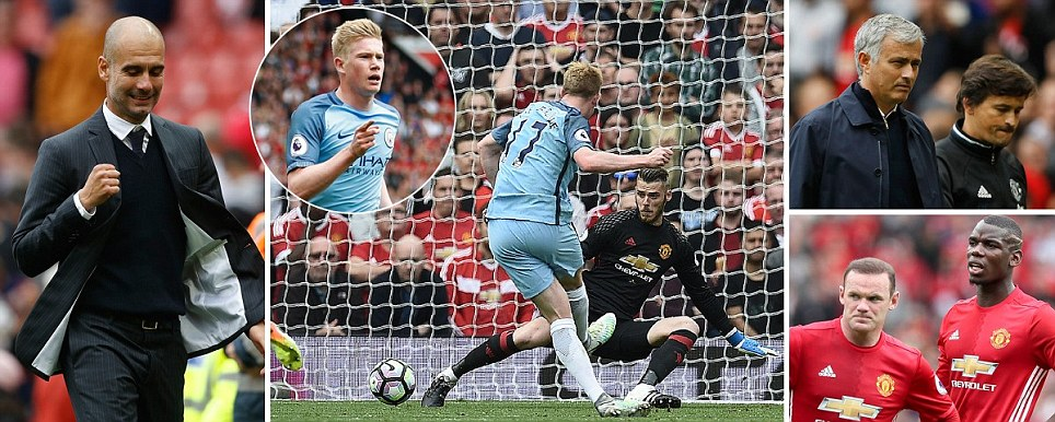 Manchester United 1-2 Manchester City:Kevin De Bruyne and Kelechi Iheanacho give Pep