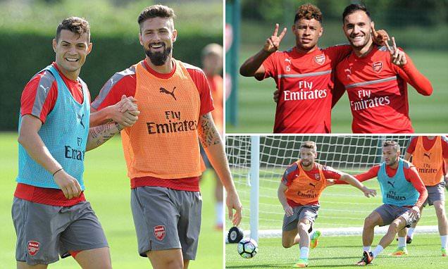 Arsenal new boys Lucas Perez and Shkodran Mustafi train ahead of Southampton clash