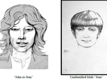 These undated sketches released by the Los Angeles Police Department show two men police are looking for in connection with the death of a 19-year-old Canadian woman found savagely stabbed to death in Los Angeles in 1969 near the site of the most notorious Manson family killings. The LAPD released sketches of the men Friday, Sept. 9, 2016, based on an interview with a witness in Montreal, Canada in July, 2016. The sketches show how the men, possibly named 'John,' or 'Jean' in French, would have looked in 1969, when 19-year-old Reet Jurvetson's body was found stabbed 150 times. (Los Angeles Police Department via AP)
