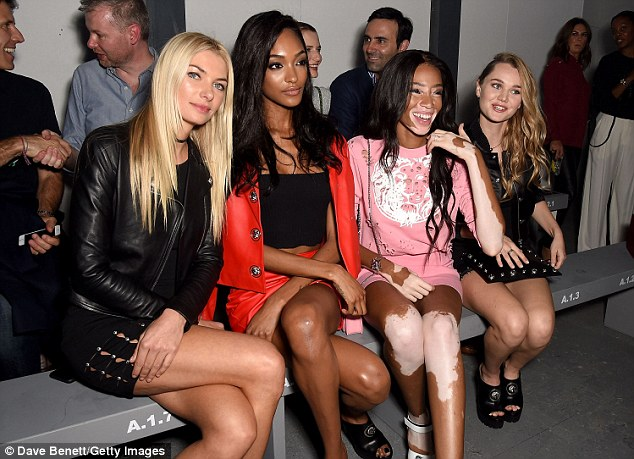a laugh a minute: The stars looked especially entertained at the Versus show