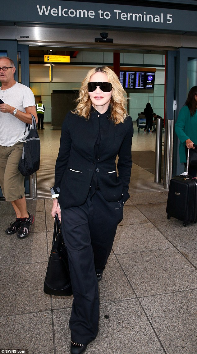 Ready to see her boy: Pictured arriving in the UK on September 12 from America