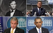 Abraham Lincoln, John F Kennedy, Barack Obama and George W Bush