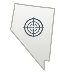 Outline of the state of Nevada with bullseye