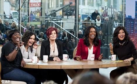 Coming out: Sara with her The Talk co-stars Sheryl Underwood, Sharon Osbourne, Aisha Tyler and Julie Chen who she opened up to about her ex-lover