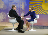 """In this Image released by CBS News, """"CBS News Sunday Morning"""" host Charles Osgood, left, introduces Jane Pauley as his replacement to host the program on Sunday, Sept. 25, 2016, in New York. Pauley becomes the third host of """"Sunday Morning"""" since its inception in 1979. Osgood, who retired Sunday after 22 years, replaced original host Charles Kuralt. (Michele Crowe/CBS via AP)"""