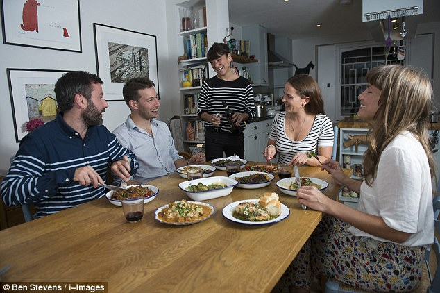 From left, Dave, Gav, Martha, Anna and Rachel eating in Martha's kitchen  - but can they tell which of the dishes were made from scratch and which were bought in a supermarket?
